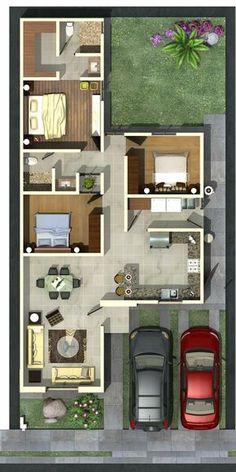 Me gusta este plano, pero creo que entre la primera recàmara de la izquierda y el baño le hace falta un espacio, jardìn interior o algo para que tenga luz natural.