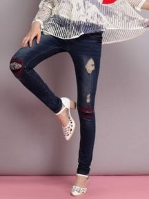 Hole Embroidery Bodycon Jeans