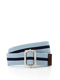 Canvas Stripe Belt with a cool buckle