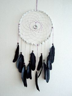 Dream Catcher - Black Lady - With Sparkling Round Crystal Prism and Natural Black Feathers - Home Decor, Mobile. via Etsy.