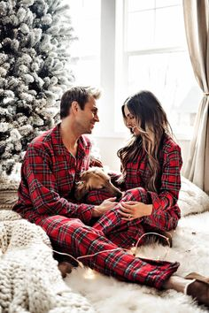 06 DEC, 2017 Christmas Pajamas For The Whole Family - Outfit Details Wearing the Holiday Plaid Collection (XS on me, M on Phil and XL on Luna)