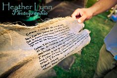 "Maui Wedding Vows written on old palm tree ""paper""!! <3 this"