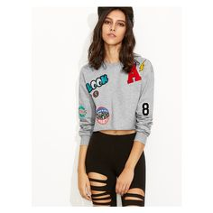Heather Grey Raw Hem Crop Sweatshirt With Embroidered Patch ($18) via Polyvore featuring tops, hoodies, sweatshirts, cropped sweatshirt, heather grey sweatshirt, heather gray sweatshirt, cut-out crop tops and cropped tops