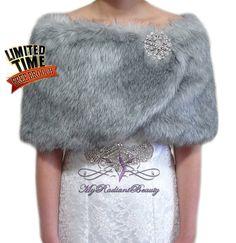 Faux Fur Wrap Faux Fur stole Grey Chinchilla Bridal Wrap