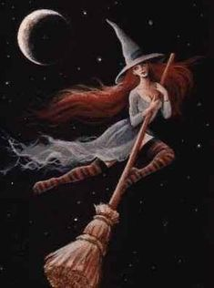 Halloween Witch flying and riding on her broomstick into the night of stars and a moon Halloween Art, Holidays Halloween, Vintage Halloween, Halloween Witches, Baba Yaga, Samhain, Witch Pictures, Photo Chat, Season Of The Witch