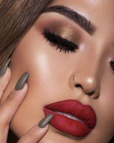 matte red lips and golden smokey eye look by @iluvsarahii #makeupideassmokey