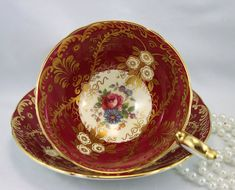 Aynsley Teacup & Saucer, Royalty Series, Bone English China made in 1950s. In good vintage condition no chips, cracks, crazing or repairs. Some light wear to the center of the saucer, please zoom pictures No:2,3,4. The Saucer measures-6(15cm) in diameter. The Cup