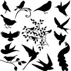 Bird Silhouettes Clip Art Clipart Bird Clip Art by PinkPueblo, $6.00