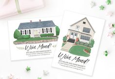Custom Moving Announcement House Portrait Cards