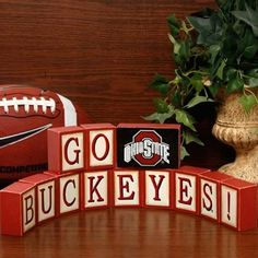 ...Ohio State Buckeyes Wooden Block Set I want to find some old blocks and make these for my family room