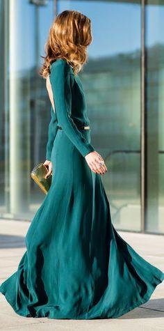Green Open Back Gown by Ms Treinta