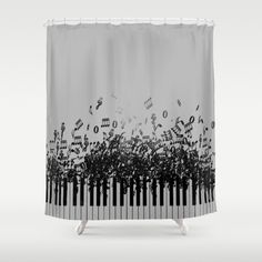 Items similar to Piano black Music Shower Curtain in Gift Cute Decor Apartment Bath Bathroom Lamp Decor Accent Original Art Blue Curtain White Curtain on Etsy