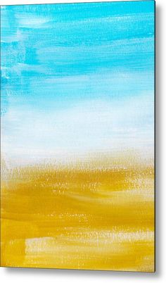 Aqua Gold Abstract Painting Metal Print by Christina Rollo.  All metal prints are professionally printed, packaged, and shipped within 3 - 4 business days and delivered ready-to-hang on your wall. Choose from multiple sizes and mounting options.