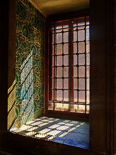 These window screens are made up of tiny pieces of lattice. Pure Mastery?: Window inside Topkapi palace (Istanbul, Turkey)
