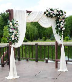 Wedding Arbors, Wedding Ceremony Arch, Wedding Stage, Dream Wedding, Church Wedding, Gown Wedding, Wedding Dresses, Outdoor Wedding Decorations, Stage Decorations