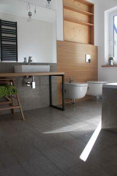 łazienka , szary , drewno , lustro , kaloryfer