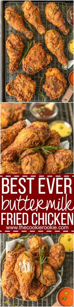 This BEST EVER BUTTERMILK FRIED CHICKEN will become the favorite chicken of your life! Anyone can master this AMAZING technique for the most tender juicy chicken with a crunchy savory outer skin. SO GOOD. via @beckygallhardin
