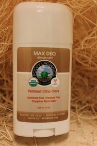 Poofy Organics Max Deo Deodorant is USDA Certified Organic, aluminum-free, and beeswax-based!
