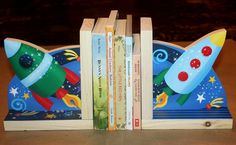 Outerspace Rocket Ship Astronaut Boys Kids Bedroom Baby Nursery Wood Bookends