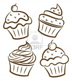 5 best images of printable birthday cupcake outlines black and