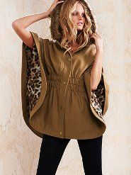 Leopard print lined cape. I don't care for the faux fur on the hood but it's very cute. Fur Trimmed Cape, Fur Cape, Cape Coat, Victoria's Secret, Autumn Winter Fashion, Fall Fashion, Winter Style, Dress Me Up, New Outfits