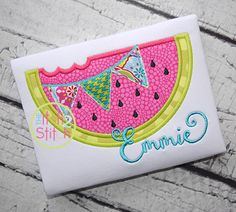 """Watermelon Pennant APPLIQUE - 4x4, 5.5"""", 5x7 & 6x10; Shown with Starstruck Font (NOT Included)"""