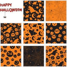 Vector of 'Collection of halloween seamless patterns Vector illustration'
