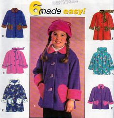 Simplicity 7822, Little Girls Fleece Jackets or Coats Sewing Pattern, with Hood…