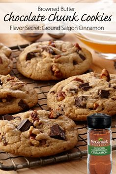 Secret ingredient: Cinnamon brings rich, warm flavors to these Browned Butter Chocolate Chunk Cookies. Perfect for a cookie exchange or holiday entertaining.