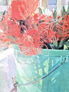 Jeannie Kinsler: A Bucket Of Pincushions: fine art | StateoftheART Clouds Hill, South African Art, Long Shadow, Pebble Painting, Pincushions, Canvas Size, Home Art, Still Life, Original Artwork