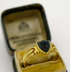 A Superb Victorian 18k Gold Intaglio Bloodstone Signet Ring 1879 from georgian-gold on Ruby Lane