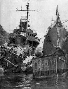 Destroyers USS Selfridge (bow shot off) and USS O'Bannon at New Caledonia for repairs after Battle of Vella Lavella (US Navy photo) On Oct. 6, 1943: Naval Battle of Vella Lavella: US fails to prevent evacuation of island; US and Japanese each lose 1 destroyer; last surface engagement in Solomons, last clear-cut naval victory for Japanese. Us Navy Ships, Armada, United States Navy, Pearl Harbor, Submarines, Military History, Naval History, Aircraft Carrier, War Machine