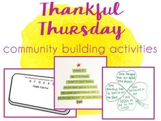 Thankful Thursday community building activities - Want to promote a sense of thankfulness and gratitude in your classroom? Here is a year's worth of writing prompts and small projects (20 in all!) to encourage community & gratefulness among students & staff in your school :) My kids LOVE doing these and receiving them is a bright spot in every teacher's week!