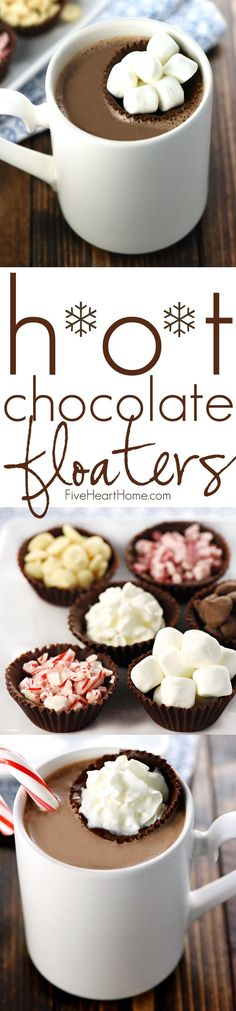Hot Chocolate Floaters ~ little cups of chocolate make fun and tasty receptacles for marshmallows, whipped cream, or your favorite hot cocoa toppings! Hot Chocolate Bars, Hot Chocolate Recipes, Alcohol Chocolate, Chocolate Cups, Chocolate Milkshake, Chocolate Cream, Chocolate Making, Cocoa Recipes, Chocolate Party