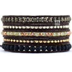 Dark Autumn Beaded Wrap Bracelet with Silver/Gold Nuggets on Dark Brown Leather Cord - Artisan Boho Handmade Chan Luu Inspired