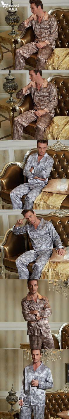XIFENNI Brand Sexy Satin Silk Men's Pajamas Fashion Printed Long-Sleeve Male Pajama Pants Sets Faux Silk Pyjama Sleepwear 20506
