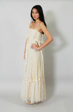 Vintage Lace BOHO Wedding Dress 70s Lace by WaistedVintage1