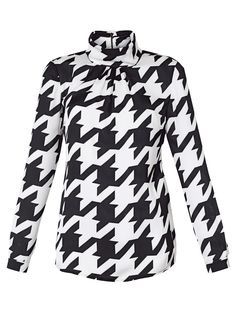 Delmod Blouse black white dogstooth print