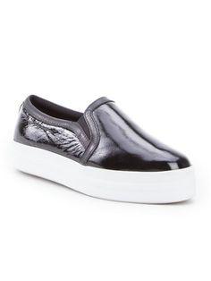 Ellus Tênis slipper de couro envernizado