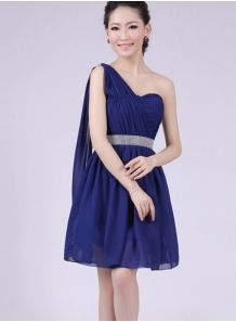 INES - A-line Knee length Chiffon One shoulder Chinese Cheap Wedding Party Dress