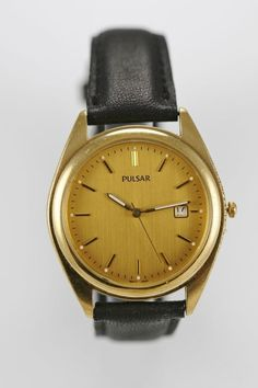 Pulsar Watch Mens Date Steel Stainless Gold Water Resistant Black Leather Quartz