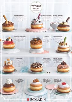 Die jährliche Sammlung von Roladin Hanukkah Donuts, auch bekannt als Sufganyot i . Easy Baking Recipes, Donut Recipes, Cupcake Recipes, Dessert Recipes, Keto Recipes, Delicious Donuts, Yummy Food, Donut Flavors, Dessert Packaging