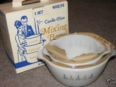 Vintage Fire King Candle Glow Mixing Bowl Set New w/Box