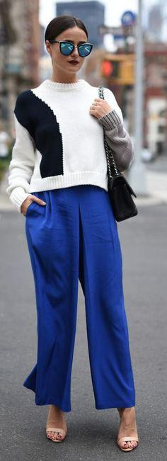 Blogger Bazaar Deep Blue Wide Leg Pants Fall Inspo