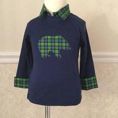 Baby boy clothes Boy Bear Outfit Bear baby shirt by MyGlitterWorld