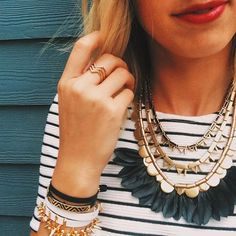 Our #MondayMuse this week is @morgansdstylist in the Plume Statement Necklace b/w details and stripes. www.stelladot.com/geraldineastraber