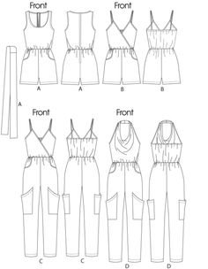 Free Printable Sewing Patterns - Jumpsuits In 2 Lengths Diy Clothing, Sewing Clothes, Clothing Patterns, Sewing Hacks, Sewing Tutorials, Sewing Crafts, Free Printable Sewing Patterns, Free Sewing, Diy Fashion