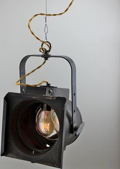 Vintage Theater Pendant Light Fixture - Industrial Antique Hanging Stage Lighting Edison Bulb Hollywood Theatre Lamp Gold Wire. $180.00, via Etsy.