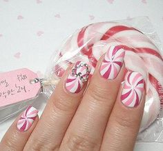 Peppermint Twists :*) Super cute~! I wanna so do this to 1 nail........