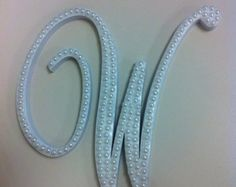 Commercial Script Pearl Monogram Cake Topper by LeandraNDesigns